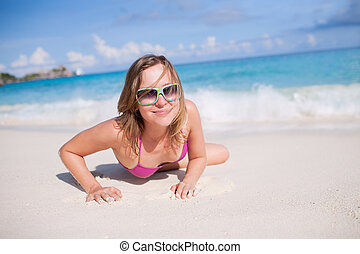 Happy Woman Resting On The Beach