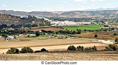 Arcos de la Frontera - Panoramic view of the town of Arcos...
