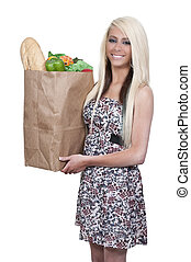 Woman Shopping Bags - Beautiful young woman with a brown...