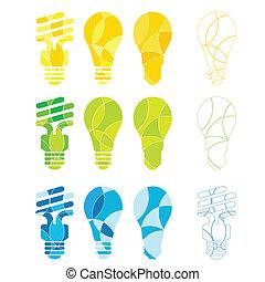 Light Bulbs - A set of abstract coloured light bulb...