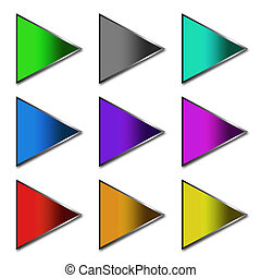 colorful arrow buttons over white background