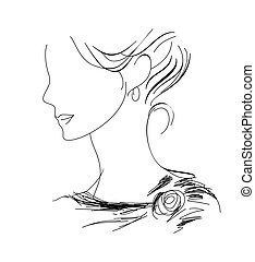 woman profile sketch - A hand-drawn woman profile sketch eps...