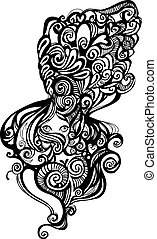 curly haired woman - abstract illustration of a woman with...