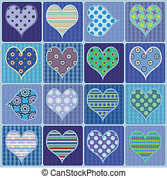 blue hearts - illustration hearts