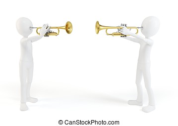 3d man playing the trumpet