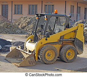 bulldozer during the excavation in a road construction site...