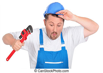 Comedy plumber with a wrench