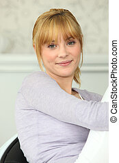 young blonde in chest-knee position