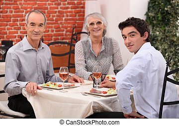 Family meal out in a restaurant