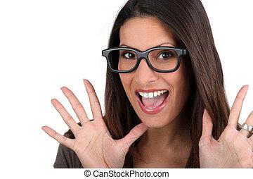 mujer, tonto, anteojos