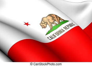 Flag of California, USA. Close Up.
