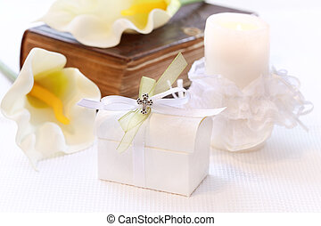 First holy communion or confirmation - candle, open bible...