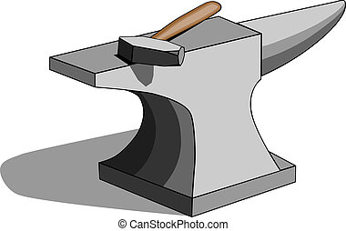 Anvil and hammer - Vector illustration of classic...