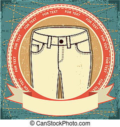 Female Jeans label set on grunge paperVector clothes...