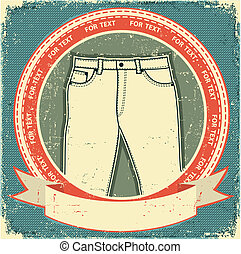 Jeans label set on vintage old paper.Vector clothes background