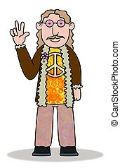 Hippie - Illustration of a cartoon Hippie man