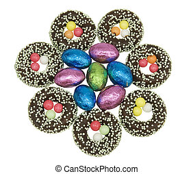seet easter decoration - chcolate easter eggs with candy...