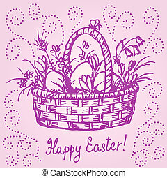 Easter basket - Hand drawn illustration of easter basket in...