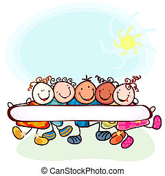 kids playing - group of funny kids with blanck banner