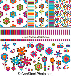 flowers and patterns - flowers and seamless patterns set