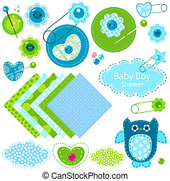 baby boy shower elements set