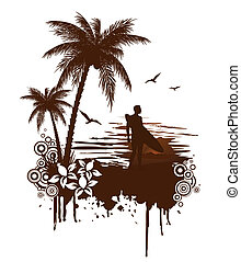 Surf grunge with surfer - Vector surf grunge with surfer