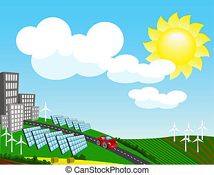 Landscape with environmentally friendly forms of energy