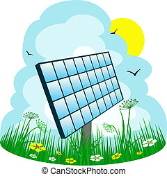 Solar panel on the meadow