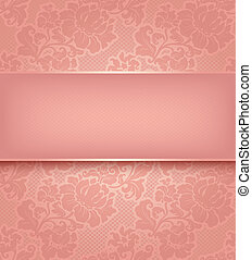 Lace background, ornamental pink flowers wallpaper. Vector...