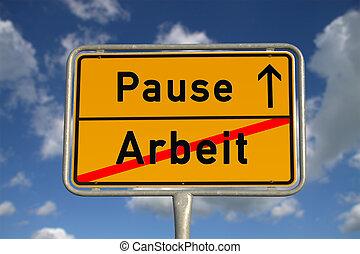 German road sign work and break