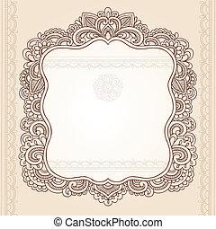 Henna Tattoo Paisley Doodle Frame - Henna Vintage Frame...