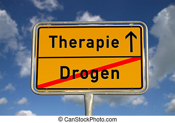 German road sign drugs and therapy with blue sky and white...