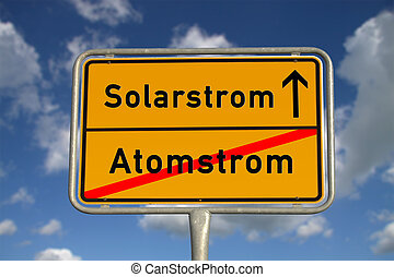 German road sign nuclear power and solar power with blue sky...