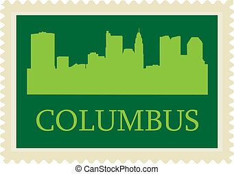 Columbus stamp - Columbus high-rise buildings skyline stamp