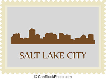 Salt Lake City stamp - City of Salt Lake City high rise...
