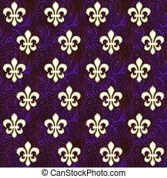 Fleur de Lis on Deep Purple - Gold edged white fleur de lis...