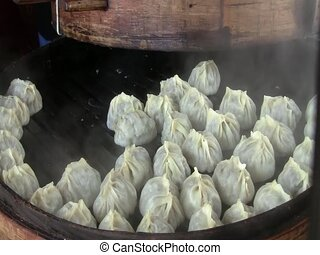 Traditional dumplings in Tashkent - Traditional manty...