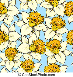 Seamless pattern with daffodil narcissus