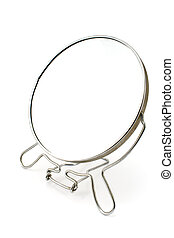 Silver beauty mirror isolated on white