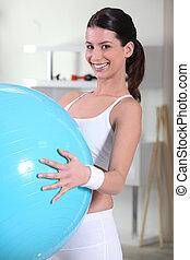 donna, Palla, giovane, presa a terra, esercizio