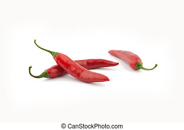 Red chilli peppers on white background Taken in Studio with...