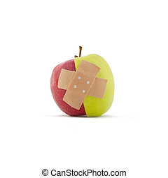 Red and Green apple with pavement on white background. Taken...