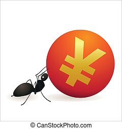 Ant pushing big symbol of Yuan
