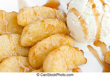 deep-fried apples and ice-cream with caramel