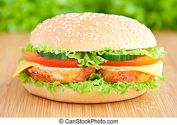 burger with chiken