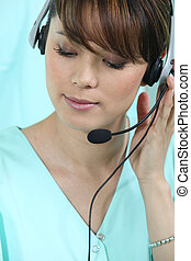 Medical secretary with headset