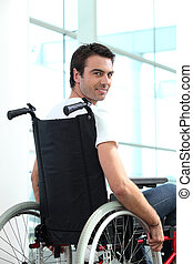 Disabled male office worker