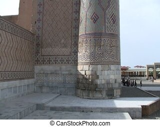 Pillars of the Registan in Samarkand, Uzbekistan