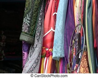 Fabrics for sale in Samarkand - Fabrics for sale at a market...