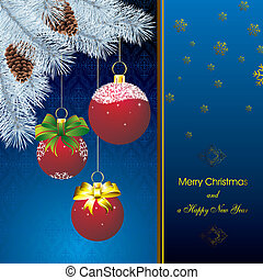new year card with fir on orient blue pattern